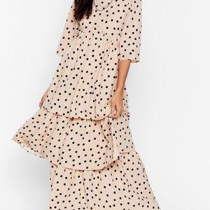 Nasty Gal layered polka dot dress